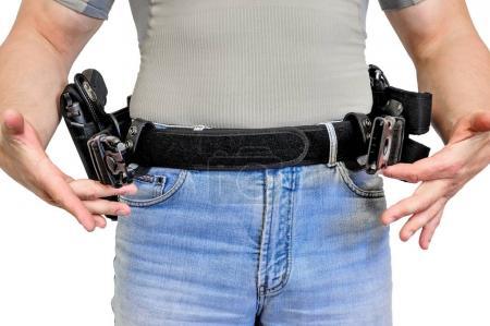 Foto de Cinturón táctico militar con hebilla automática para la conexión con la bolsa del cartucho, en banda del hombre, aislado - vista frontal - Imagen libre de derechos