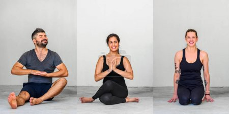 Photo for Collage of three: Yoga students showing different yoga poses. - Royalty Free Image