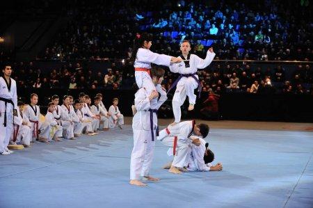 KIEV, UKRAINE - DECEMBER, 16, 2015: Ukrainian Combat Games III - nationwide Combat Games - fight of Ukrainian Taekwondo-athletes for the Champion title