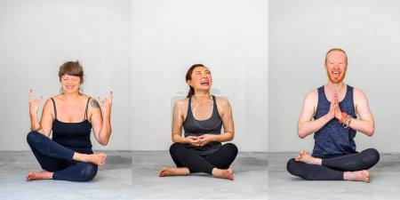 Photo pour Étudiants de yoga montrant des poses d'yoga différents - image libre de droit