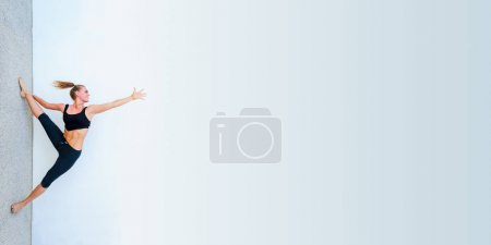 Photo for Copyspace concept. Yoga students showing different yoga poses. - Royalty Free Image