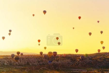 Balloon flights in the sunrise
