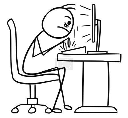 Illustration pour Stickman vecteur de dessin animé gribouillis assis devant l'ordinateur et écrivant rapidement et agressivement sur le clavier - image libre de droit