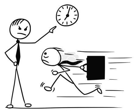 Illustration pour Cartoon vecteur doodle stickman courir pour le travail quelques minutes en retard et son patron attendant et pointant vers l'horloge murale - image libre de droit