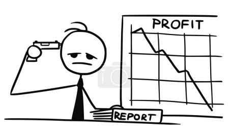Illustration pour Cartoon vecteur doodle stickman pointant pistolet sur sa tête commettant un suicide en raison de faibles bénéfices de l'entreprise au graphique wal - image libre de droit