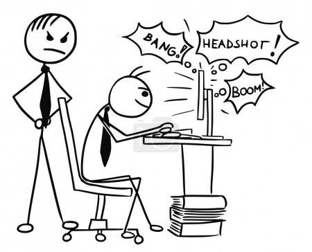 Illustration pour Dessin animé vecteur doodle stickman jouer à un jeu vidéo sur l'écran de l'ordinateur pendant le travail avec patron en colère debout derrière lui - image libre de droit