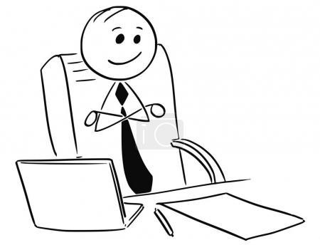 Heureux homme d'affaires satisfait patron assis avec les bras croisés
