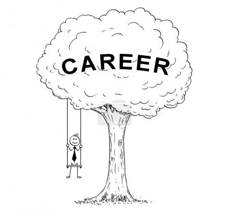 Karikatur eines Geschäftsmannes, der auf der Schaukel am Baum hängt