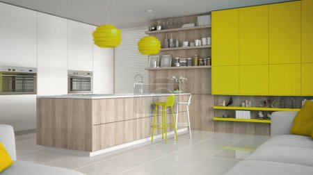 Minimalistic white kitchen with wooden and yellow details, minim