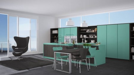 Modern gray and turquoise kitchen with wooden details, big windo