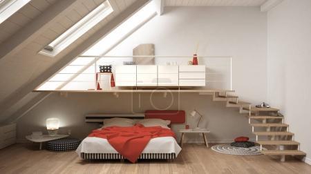 Loft mezzanine scandinavian minimalist bedroom, white and red cl