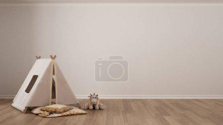 Photo pour Enfant minimaliste fond blanc avec tente enfant, oreiller couverture et jouet sur parquet, chambre d'enfant chambre design intérieur - image libre de droit