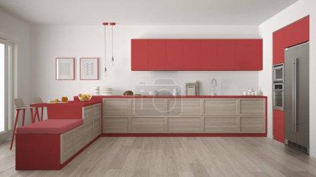 Classic modern kitchen with wooden details and parquet floor, mi