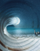Surreal dreamy imaginary sea landscape inside an empty nautilus shell, night scene with starry sky and moon