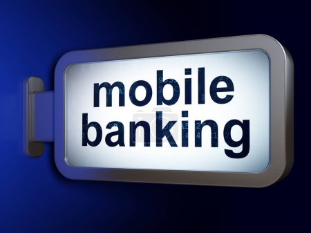 Banking concept: Mobile Banking on billboard background