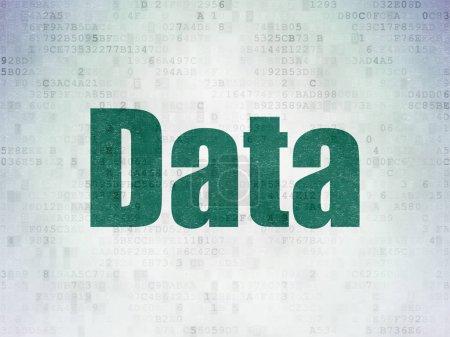 Photo pour Concept de données: peint vert mot données sur fond de papier de données numériques - image libre de droit