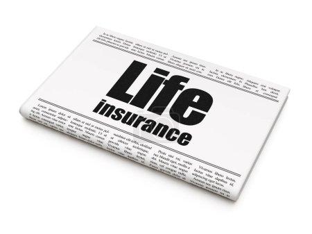 Insurance concept: newspaper headline Life Insuran...