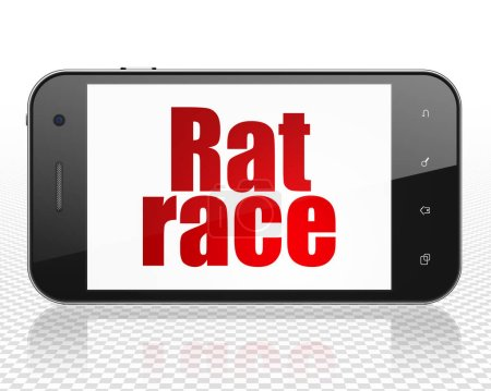 Business concept: Smartphone with Rat Race on display