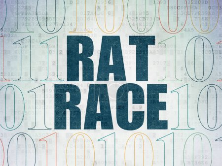Finance concept: Rat Race on Digital Data Paper background