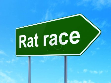 Politics concept: Rat Race on road sign background