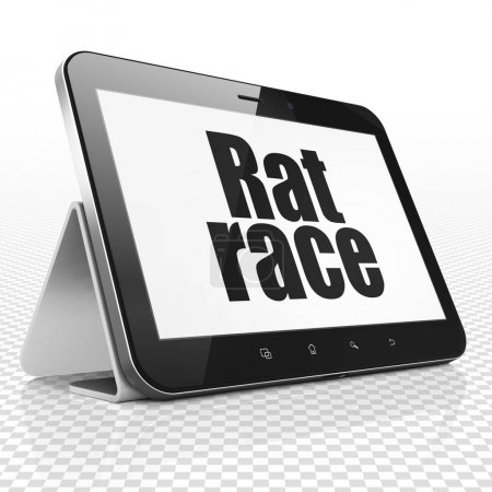 Business concept: Tablet Computer with Rat Race on display