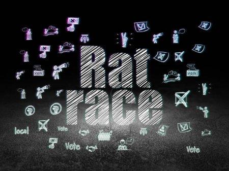 Political concept: Rat Race in grunge dark room