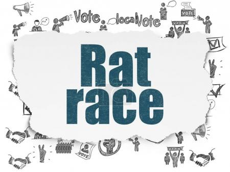 Political concept: Rat Race on Torn Paper background