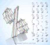 Vector illustration of a  sketched Numbers And Mathematical Symbols Hand drawn 3D Numbers And Mathematical Symbols