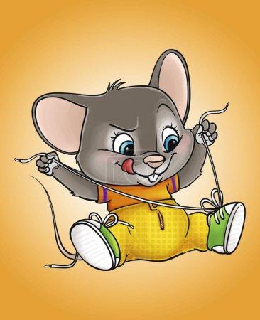 Illustration pour Illustration de la souris qui porte des baskets - image libre de droit