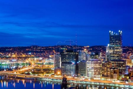 Skyline of Pittsburgh, Pennsylvania at night from mount washingt