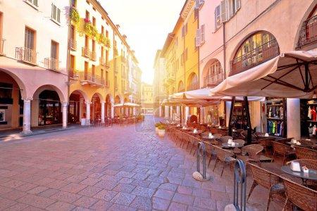 Mantova city street sun haze view, UNESCO world heritage site, Lombardy region of Ital