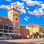Mantova city Piazza delle Erbe evening view, Europ...