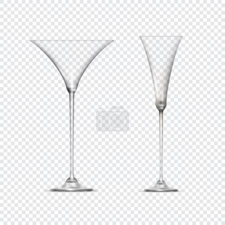 Two transparent empty glasses goblets