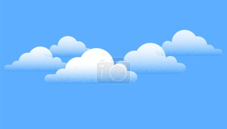 Illustration for Creative white clouds over blue sky background. Vector Illustration - Royalty Free Image