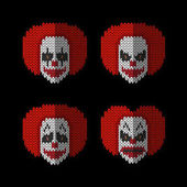 Clown knitted flat icons set of different emotion Faces clown - joy sadness anger fear Creative idea for design Vector elements