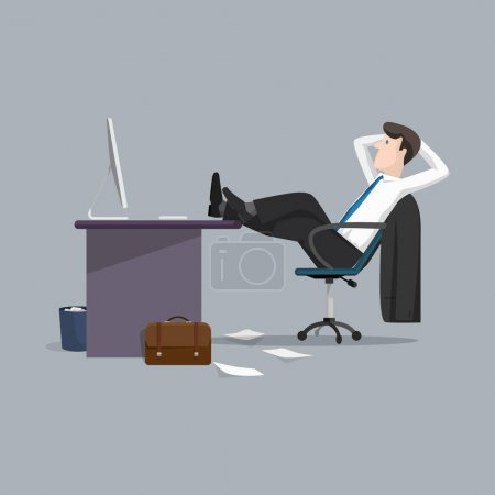 Illustration for Vector illustration of businessman relaxing between work - Royalty Free Image