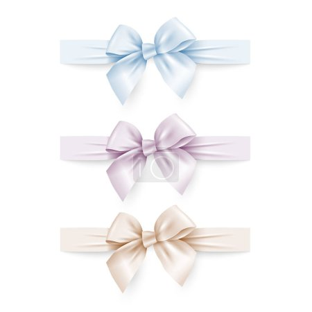 Illustration for Set of pastel silk bows with ribbons. Vector illustration - Royalty Free Image