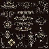 set of Golden vintage elements