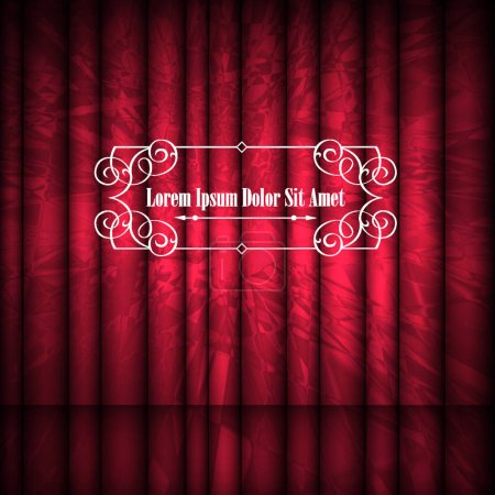 Red abstract curtains and vintage frame