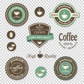 Coffee iconslabels posters signs banners set on transparent background Vector design elements