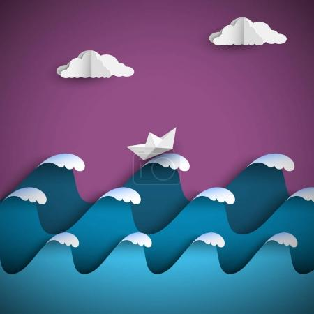 Illustration for Origami paper waves with clouds and ship. Paper art style seascape. Vector nautical background - Royalty Free Image