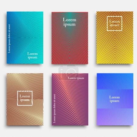 Trendy cover designs with geometric line shapes...