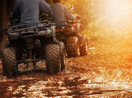 man riding atv vehicle on off road track ,people outdoor sport a