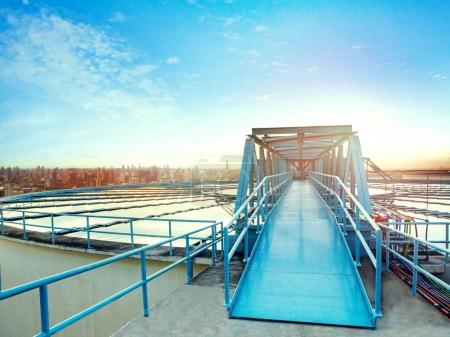 water work industry site and urban skyline background