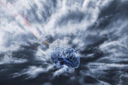 Photo pour Cerveau humain obtenir de l'énergie par l'espace, la communication par l'intelligence artificielle - image libre de droit