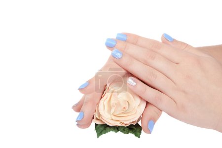 Photo for Beautiful female hands with rose flower and trendy manicure isolated on white background. - Royalty Free Image