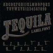 Hand crafted font for alcohol drinks label design vector illustration - vector font vintage label font Tequila label