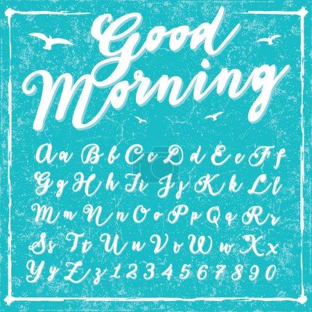 Illustration pour Police d'écriture manuscrite - Good Morning - alphabet vectoriel. Lettres dessinées à la main.Script police d'écriture - Bonjour - alphabet vectoriel. Lettres dessinées . - image libre de droit