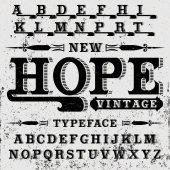 Hope font - vintage script Hand crafted font for alcohol drinks label design vector illustration Vintage label typeface
