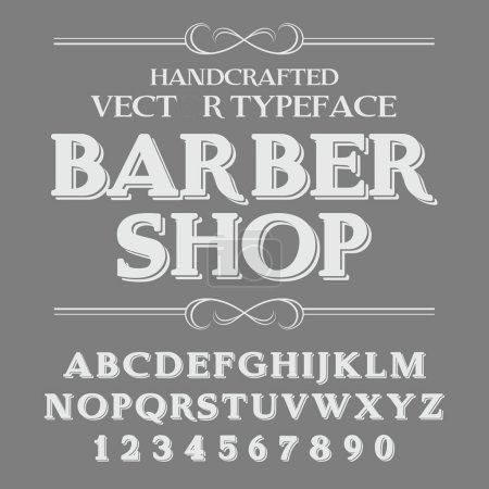 Handcrafted vintage barber shop Font